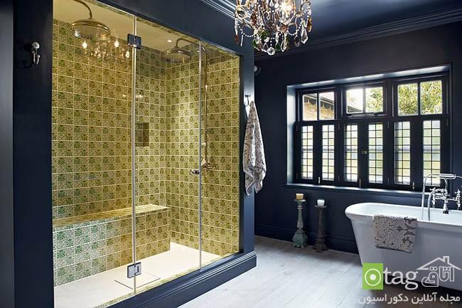 طراحی داخلی حمام و سرویس بهداشتی با ترکیب رنگ آبی و زرد